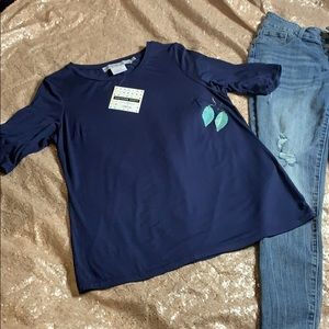Soft Navy Blue Gretchen Scott Large Top New Tags